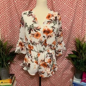Red Lolly Floral Romper